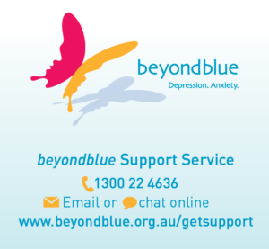 beyondblue charity logo and contact information